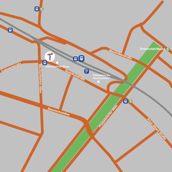 dieses Bild zeigt einen Anfahrtsplan zur Quantiusstr. 21 in Bonn